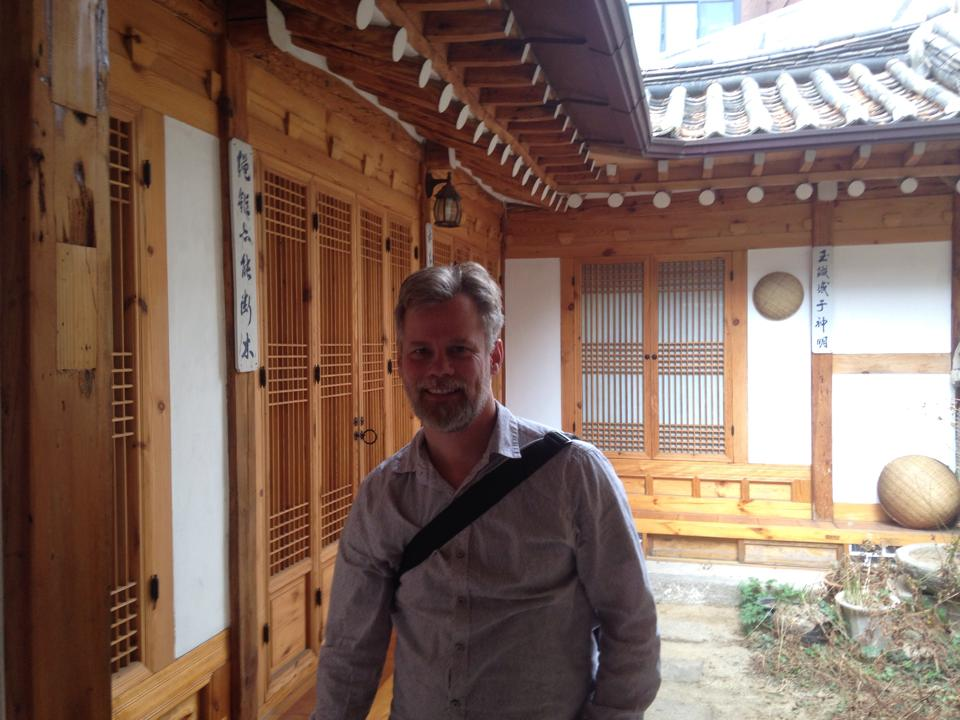 Neal Gorenflo at kozaza Hanok, Korean traditional house.